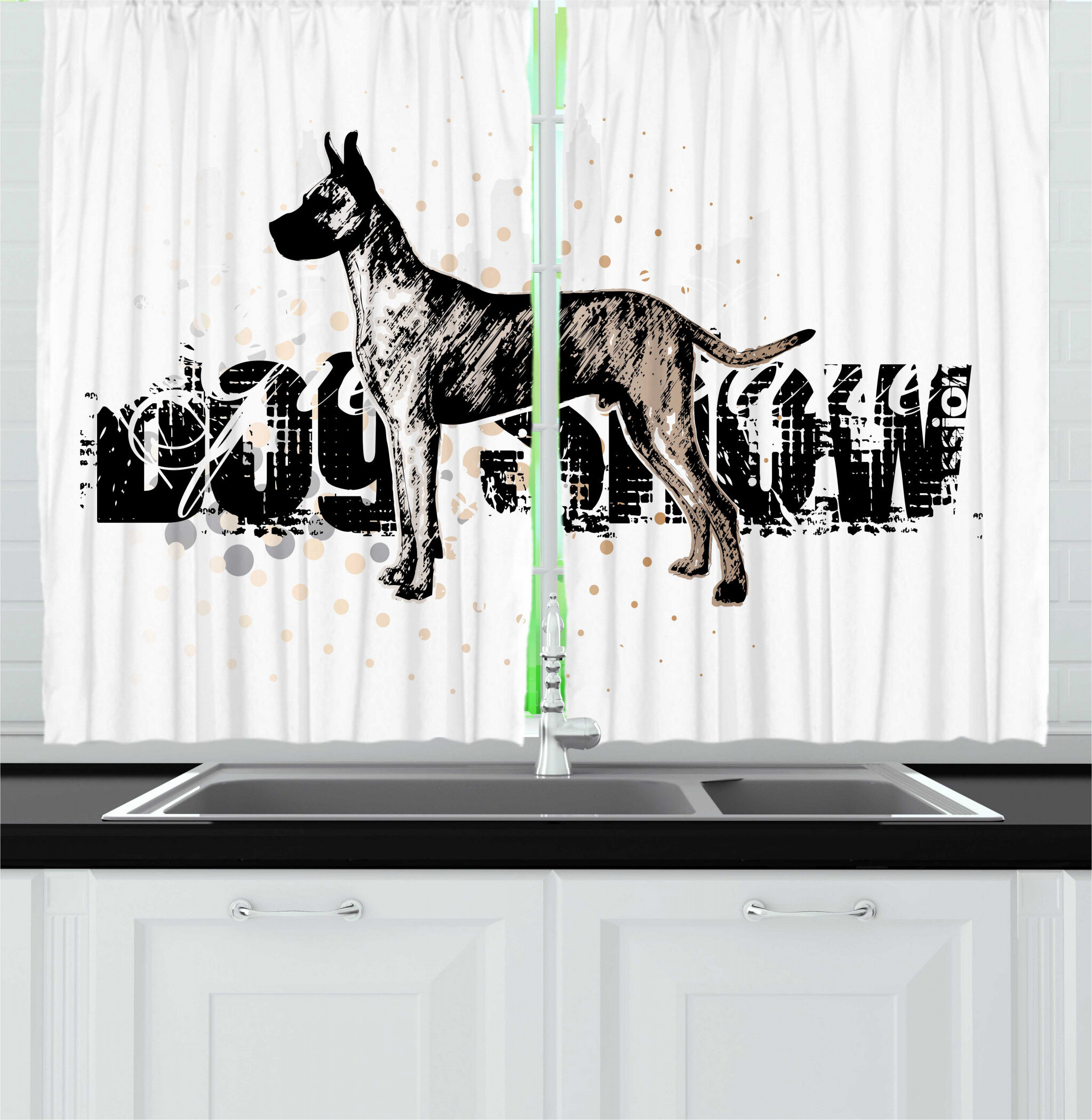 East Urban Home 2 Piece Dog Lover Sketch Graphic Of Pet With Dog Show Lettering Kitchen Curtain Set Wayfair