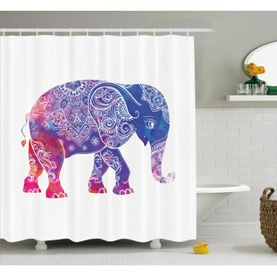 Alep Ethnic Elephant Figure Single Shower Curtain