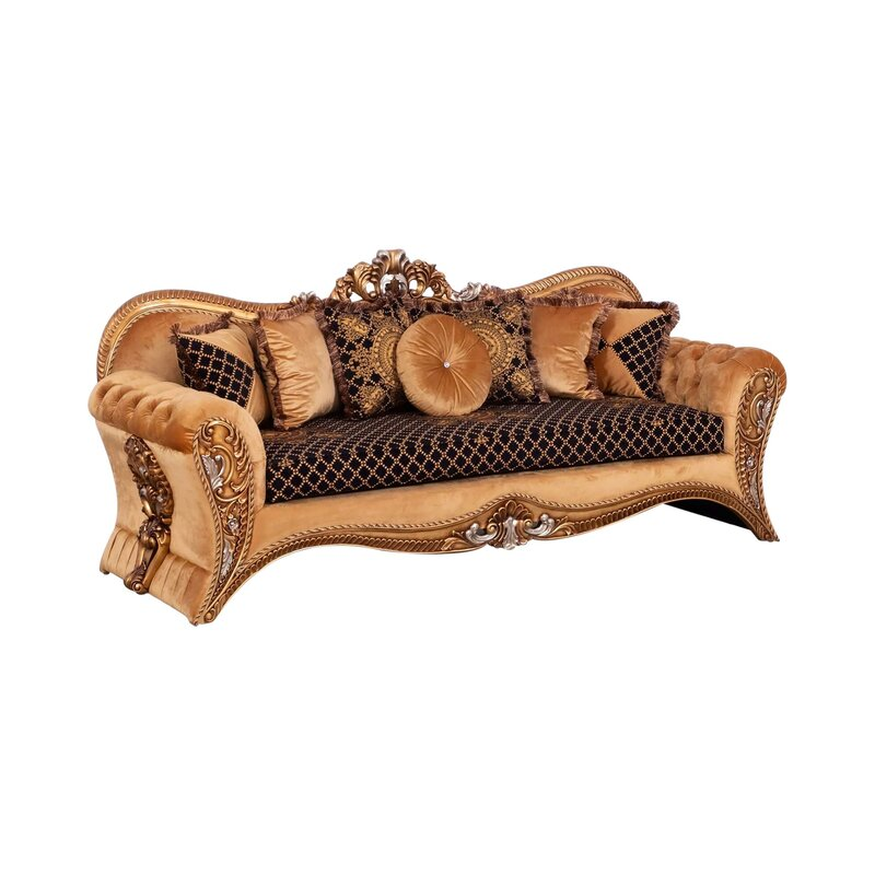 Fabric Upholstered Carved Wooden Sofa