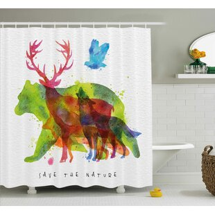 Searching for Lela Alaska Animals Bears Wolfs Eagles Deers Shower Curtain By Ebern Designs