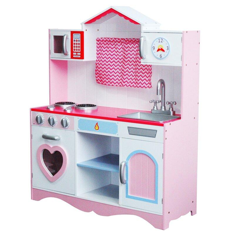 Zoomie Kids Javen Children Wooden Play Kitchen Set Reviews Wayfair Co Uk