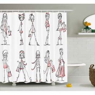 Monica Fashionable Cartoon Girls With High Heels Glamour Urban Life Catwalk Picture Single Shower Curtain