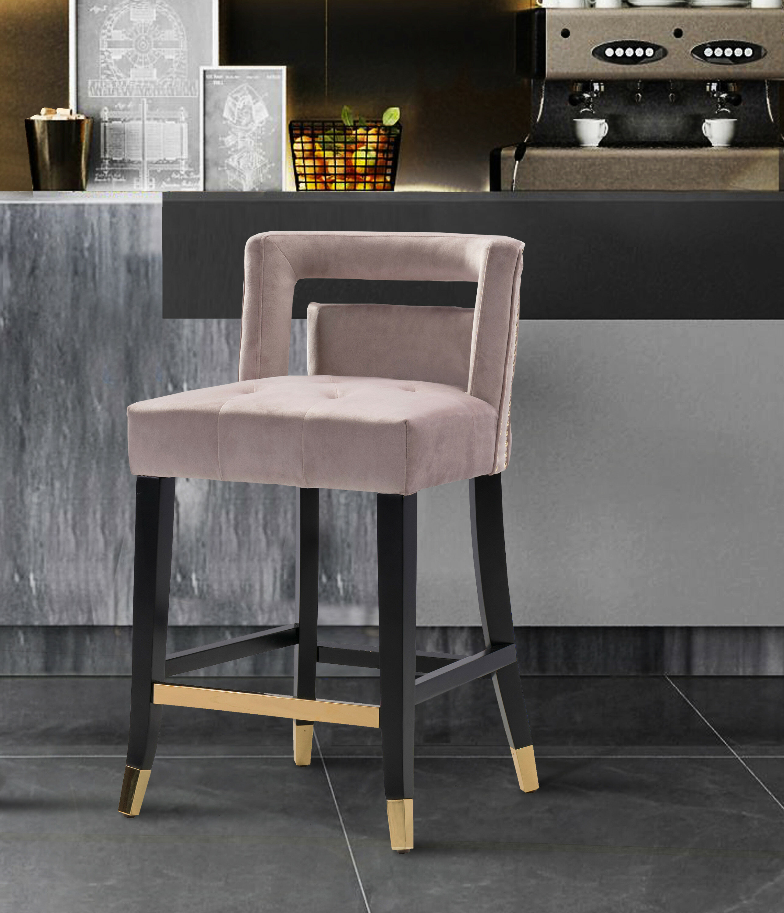 """Leather Bar Stool With Back 26/"""" Counter Height Espresso Wood Frame Nailheads"""