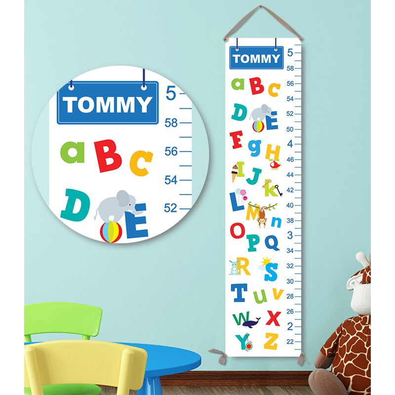 Jolie Prints Personalized Kids Gift Alphabet Canvas Growth Chart
