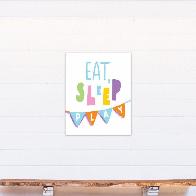 Zoomie Kids Majewski Eat Sleep Play Canvas Art Wayfair