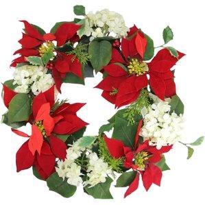 la costa poinsettia and hydrangea holly artificial christmas wreath