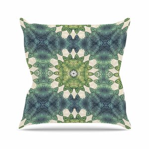 Art Love Passion Forest Leaves Repeat Geometric Outdoor Throw Pillow