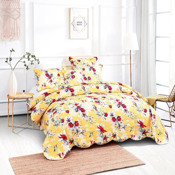 Flowers Wild Nature Print Hummingbirds Quilted Bedspread /& Pillow Shams Set