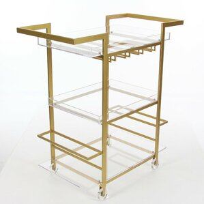 Lansdale Uniquely Designed Acrylic Bar Cart by Everly Quinn