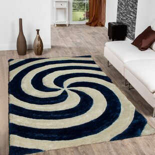 Best Deals Hand-Tufted Cobalt/White Area Rug By AllStar Rugs