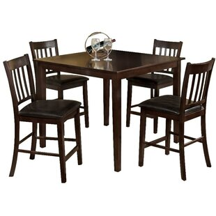 Faulk 5 Piece Counter Height Solid Wood Dining Set by Darby Home Co