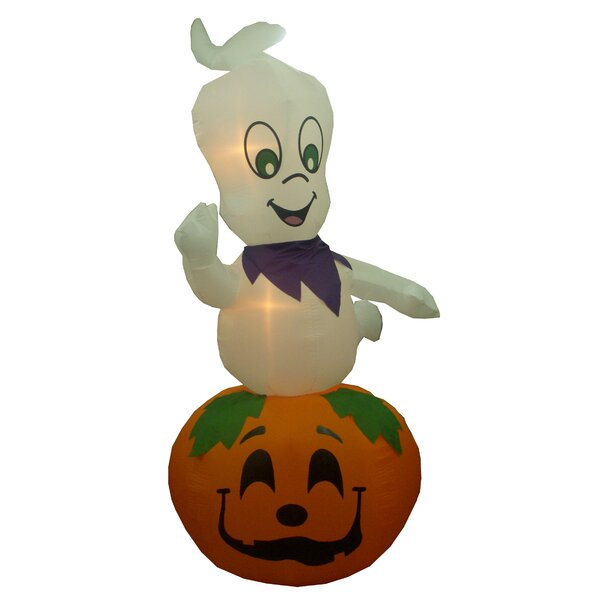 casper halloween inflatable. bzb goods animated halloween inflatable ghost casper on pumpkin indoor/outdoor decoration \u0026 reviews   wayfair f