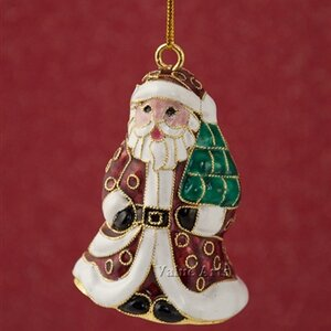 Cloisonne Santa Bell Ornament (Set of 4)