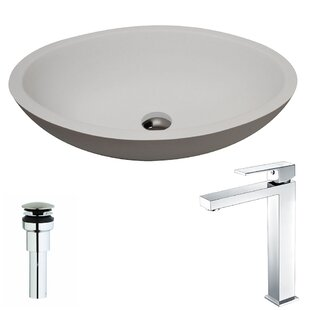 Best Price Maine Stone Oval Vessel Bathroom Sink with Faucet By ANZZI