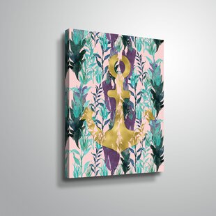 'Teal Florals Gold Anchor' Graphic Art Print on Wrapped Canvas
