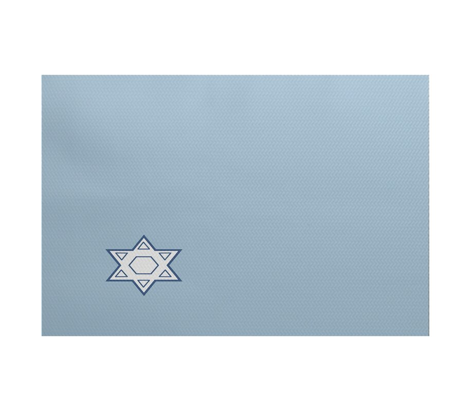 The holiday aisle star 39 s corner geometric print light blue for Geometric print area rugs