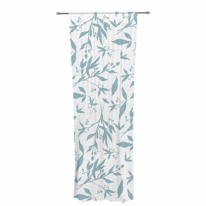 Zara Martina Leafy Silhouettes Nature Floral Sheer Rod Pocket Curtain Panels