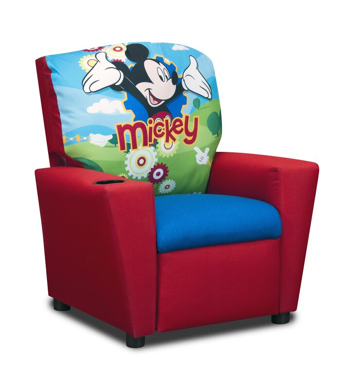 Disneyu0027s Mickey Mouse Clubhouse Kids Cotton Recliner Chair with Cup Holder  sc 1 st  Wayfair & KidzWorld Disneyu0027s Mickey Mouse Clubhouse Kids Cotton Recliner ... islam-shia.org