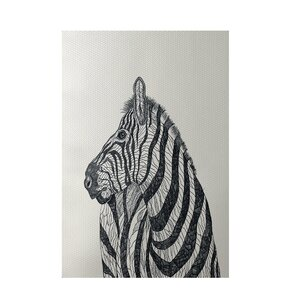 Zebra Print Off White Indoor/Outdoor Area Rug