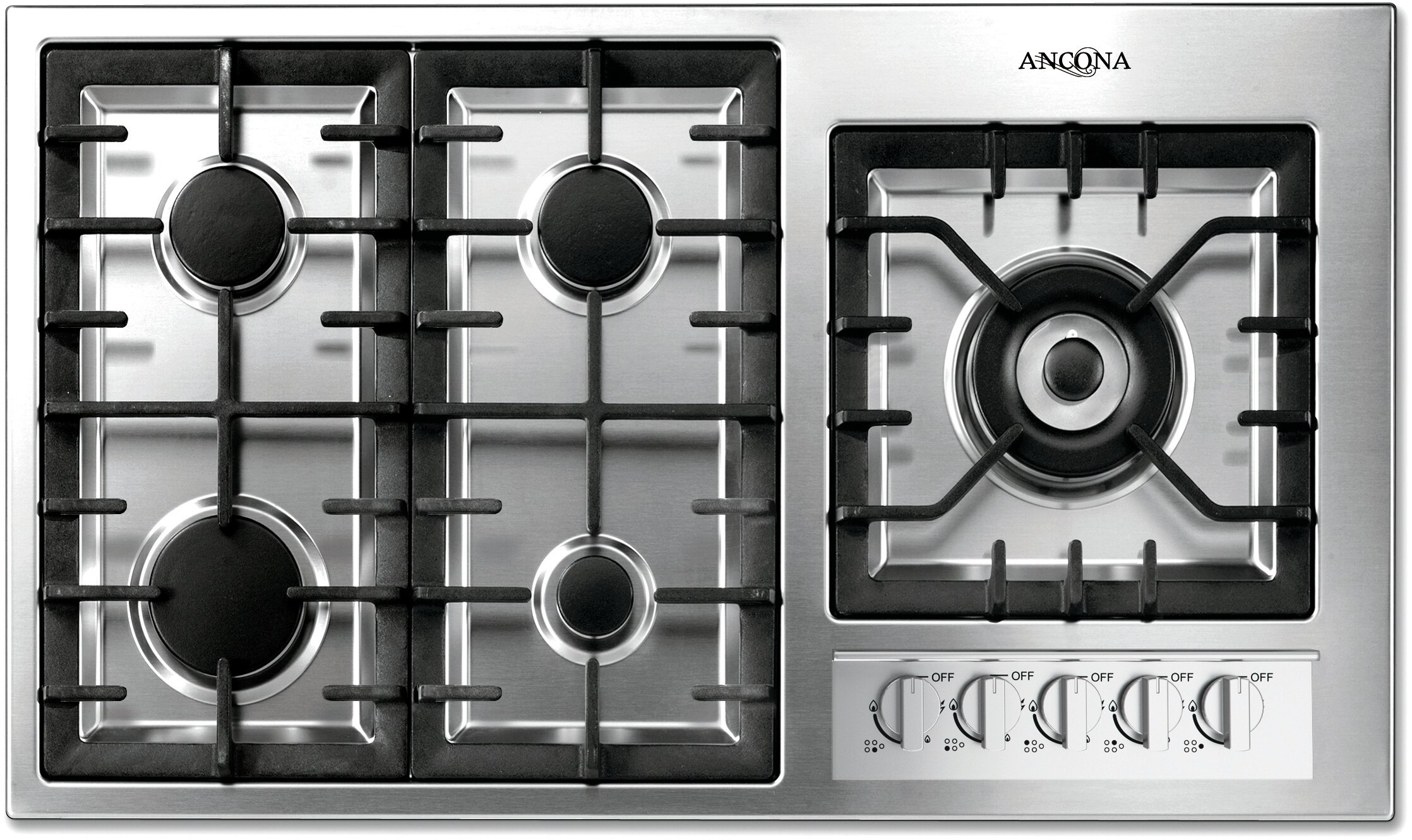 Ancona 36 Gas Cooktop With 5 Burners And Wok Pan Support Reviews Wayfair