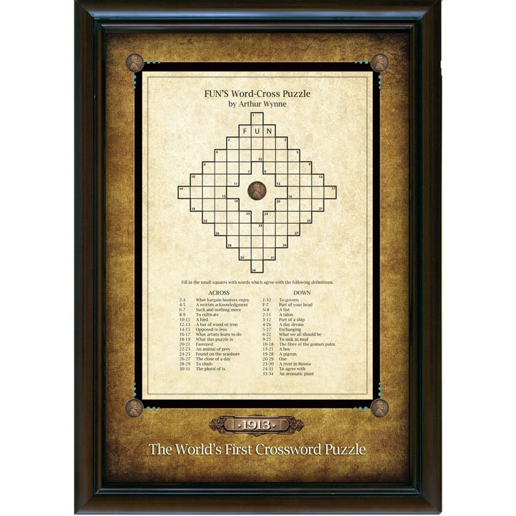 American Coin Treasure World\'s First Crossword Puzzle Framed ...