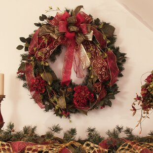 christmas pine wreath with hydrangea