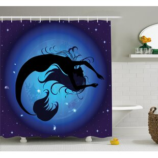 Ocean Aquatic Girl Mermaid Shower Curtain by East Urban Home