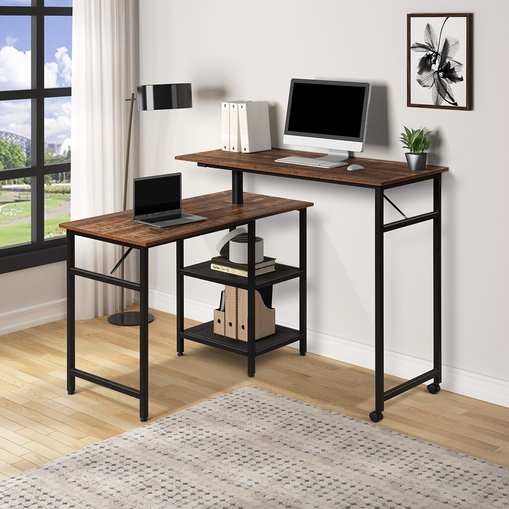 17 Stories Home Office L Shaped Rotating Standing Computer Desk Industrial 360 Degrees Free Rotating Corner Computer Desk With Storage Shelf Brown Wayfair Ca