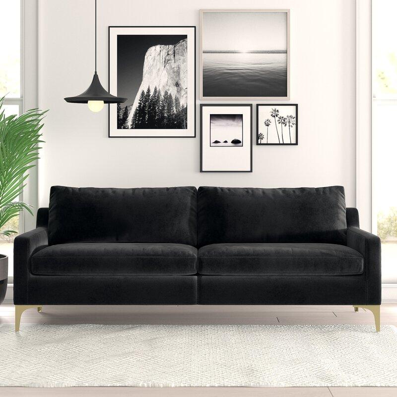 Allmodern 86 Wide Velvet Square Arm Sofa Reviews Wayfair