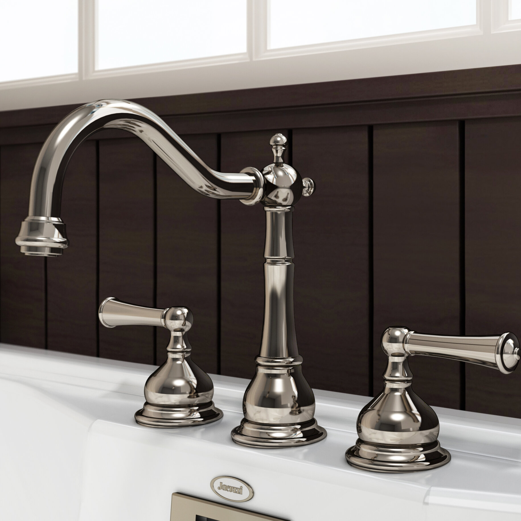 Jacuzzi® Barrea Bridge Widespread Bathroom Faucet with Drain ...