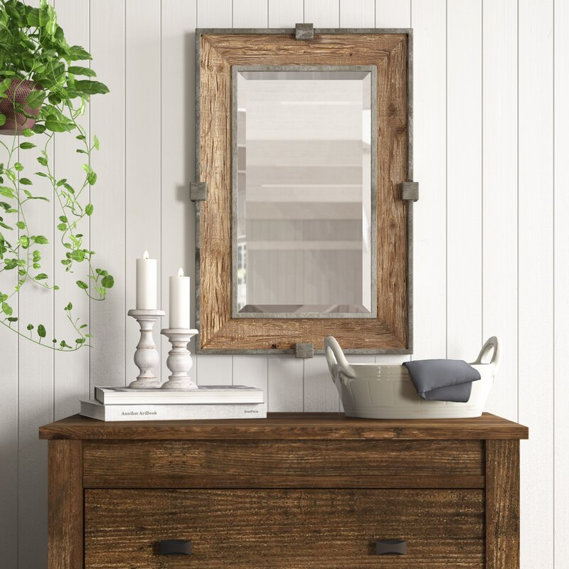 Gracie Oaks Weathered Wood Accent Mirror Reviews