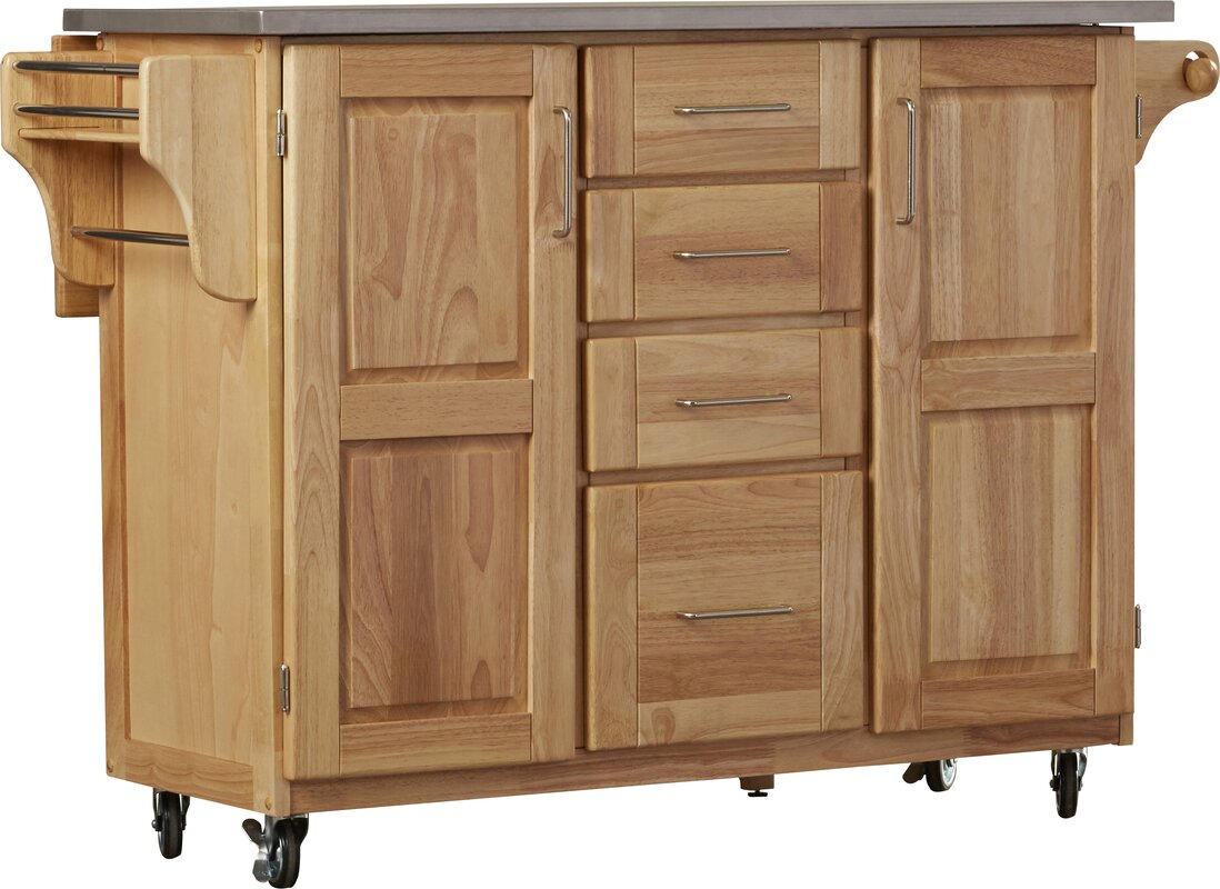 Red Barrel Studio Kinch Kitchen Island with Stainless Steel Top ...