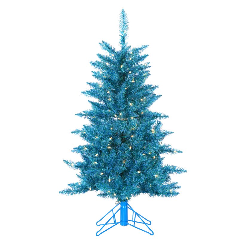 Tuscany Tinsel 4 Teal Artificial Christmas Tree With 150 Clear Lights Stand