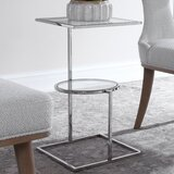 Umaima Glass Top Sled End Table with Storage by Orren Ellis