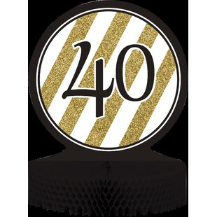 Black and Gold 40th Birthday Centerpiece