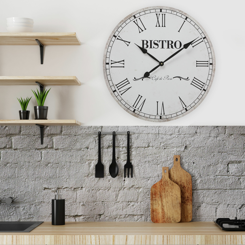 "Roman Numerals 9/"" x 9/"" Paper Clock Dial w//2 Color Floral Corner Designs"