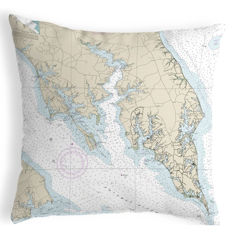 Highland Dunes Queener Leonardtown Md Nautical Map Indoor Outdoor Lumbar Pillow Wayfair