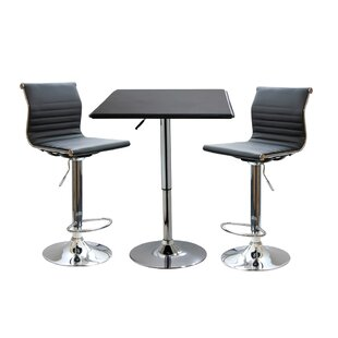 Baseeth Contemporary 3 Piece Adjustable Pub Table Set