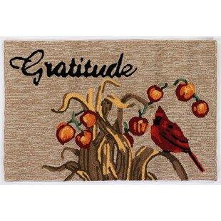 Treport Gratitude Hand-Tufted Brown/Gray Indoor/Outdoor Area Rug
