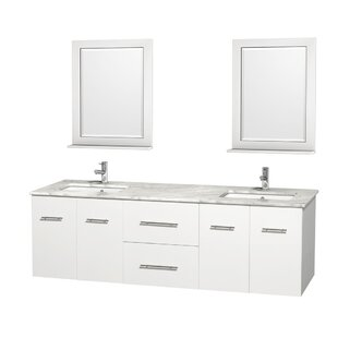 Centra 72 Double White Bathroom Vanity Set with Mirror
