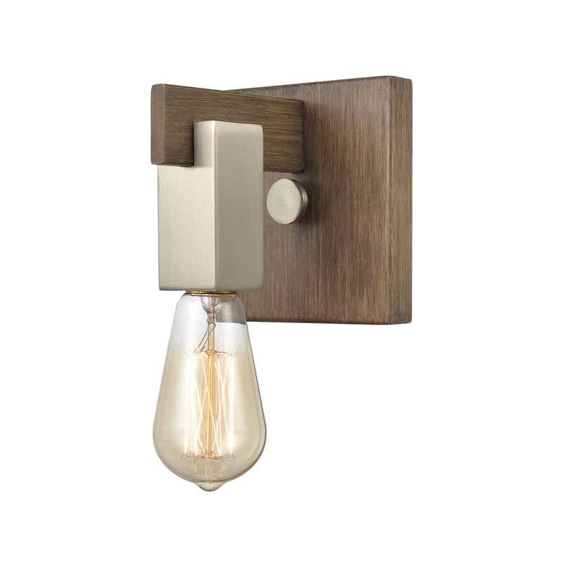 Gracie Oaks Hovi 1 Light Dimmable Light Wood Bath Sconce Wayfair