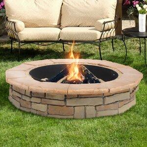 Random Stone Concrete Wood Burning Fire Pit
