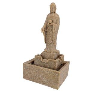 Resin Earth Witness Buddha Illuminated Garden Fountain With LED Light