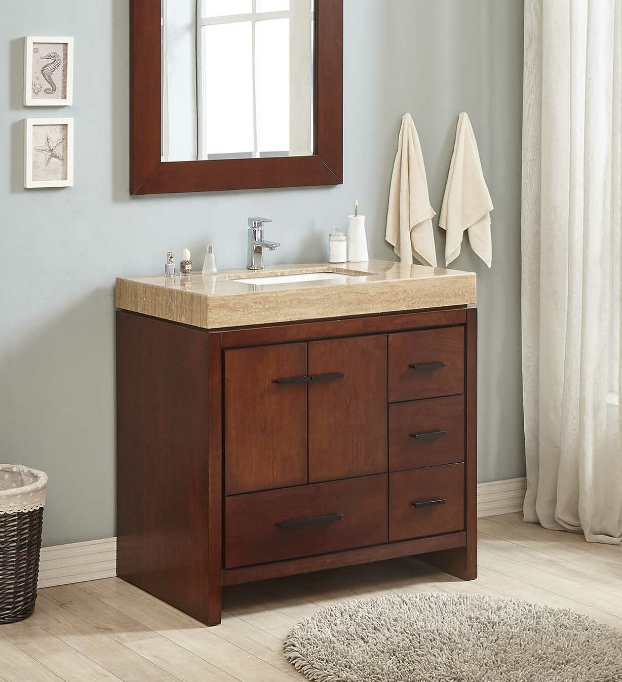 Millwood Pines 36 Red Chestnut Single Sink Bathroom Vanity With White Solid Surface Top Wayfair