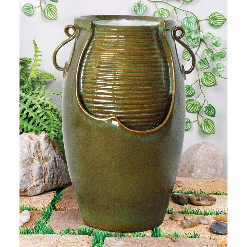 Ceramic Rippling Jar Garden Ceramic Urn Fountain With LED Light