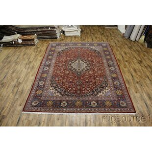 One-of-a-Kind Lakin Kashan Classical Traditional Persian Hand-Knotted 10'9 x 14'8 Wool Blue/Burgundy Area Rug Isabelline