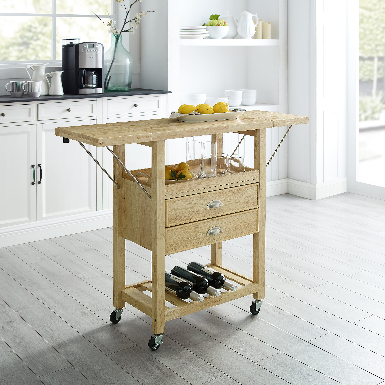 Watley Drop Leaf Kitchen Cart Solid Wood