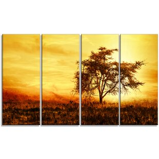 African Tree Silhouette 4 Piece Wall Art On Wred Canvas Set