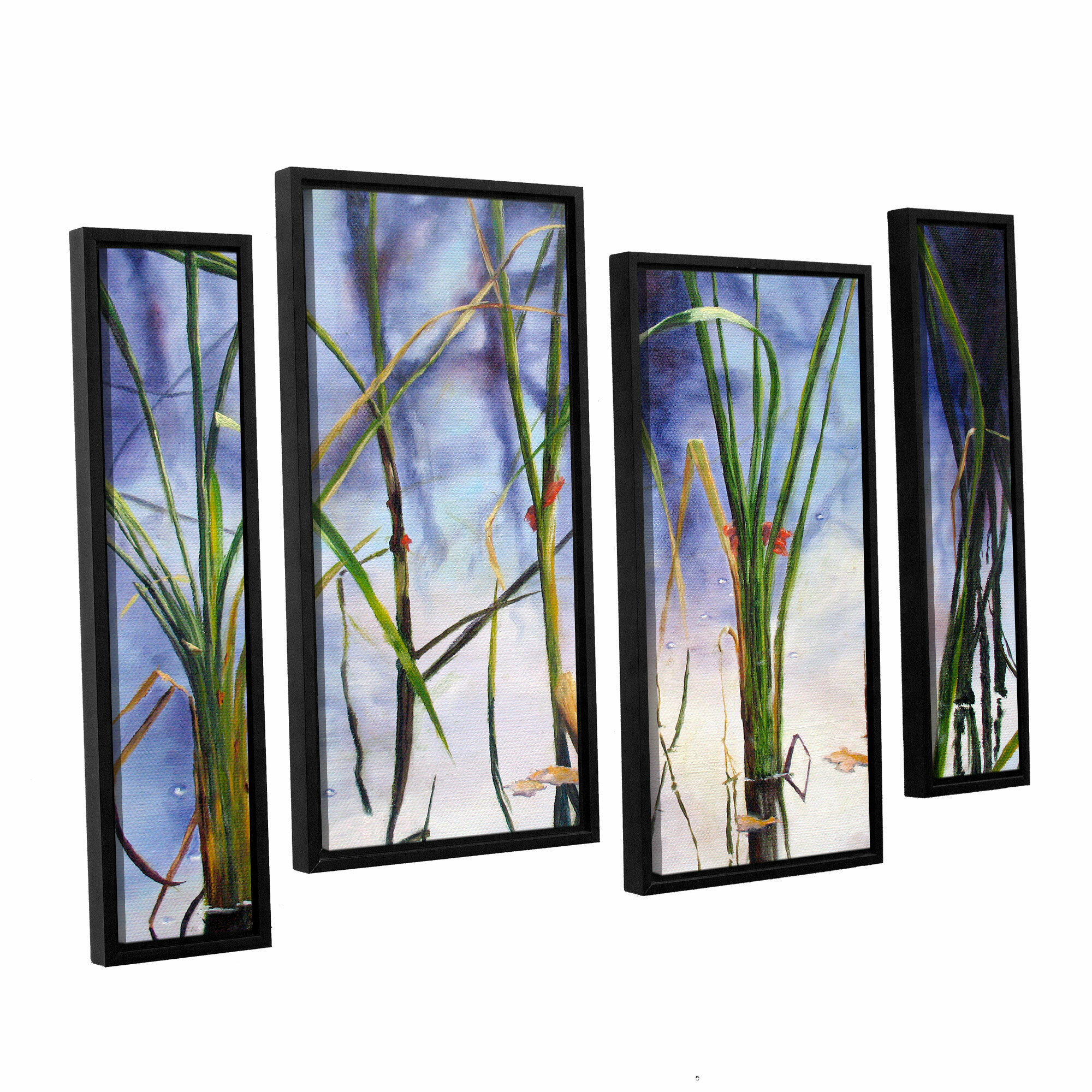 ArtWall Marina Petros Mystic Pond 4 Piece Gallery-Wrapped Canvas Staggered Set 24 by 36