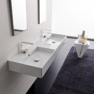 Ceramic 56 Wall Mounted Bathroom Sink with Overflow ByScarabeo by Nameeks